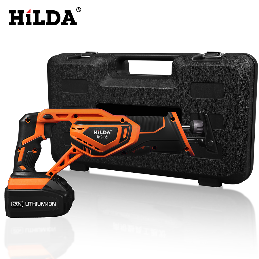HILDA Portable Rechargeable Reciprocating Saw 20V Electric Wood Metal Plastic Saw Wood Cutting Saw With One Battery worx 20v circular saw household desktop dual use wood metal pvc brick hand saws with 1 battery