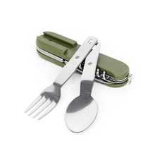 Folding Portable Stainless Steel Multifunction Tableware