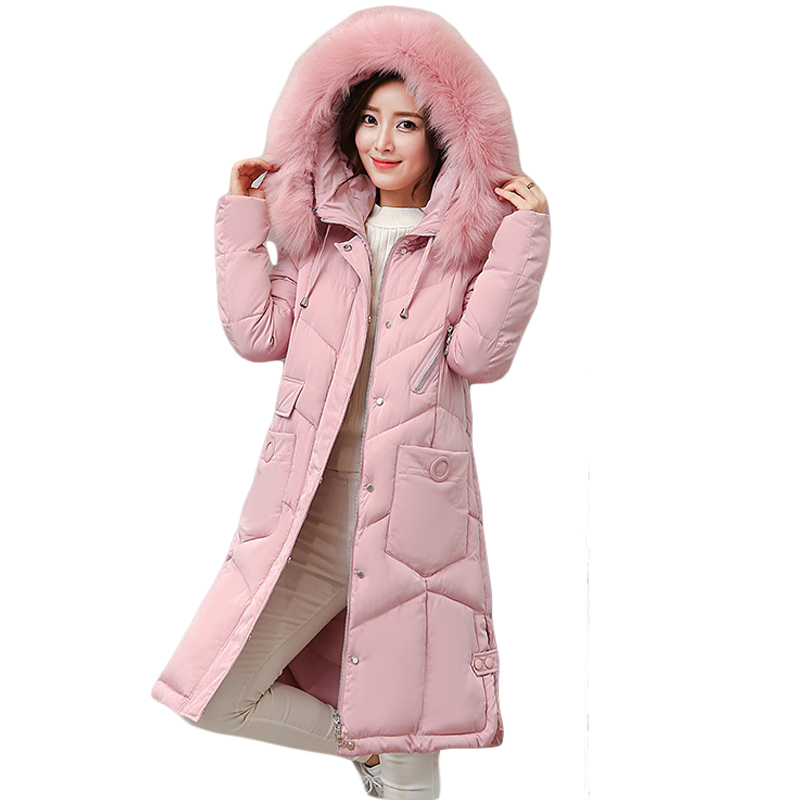 High Quality Snow Wear 2017 Big Fur Collar Warm Hooded Winter Parkas Female Long Slim Thicken Winter Coat Jacket Outwear CM1411 snow wear 2017 high quality winter women jacket cotton coats fur collar hooded parkas fashion long thick femme outwear cm1346