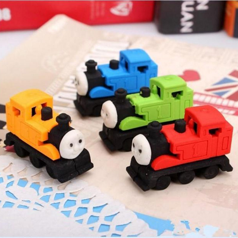 1pcs Cute Cartoon Train Styling Eraser Eraser Children Learning Stationery Gift Prizes  Kawaii School Supplies Papelaria