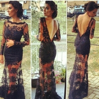 2017 Sexy Black Lace Evening Gowns With Long Sleeve High Neck Mermaid Cheap See Through Backless Prom Dress Formal Dress YR066