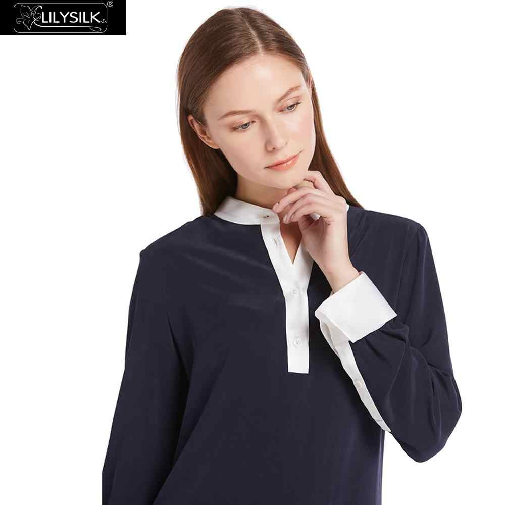 LILYSILK 23mm Pull Over Color Block Silk Shirts 100% Charmeuse Silk On Collar& Cuff Sand Washed Silk NEWS Free Shipping