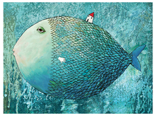 Canvas paintings seascape big blue fish and small house modern decoration art fine  free shipping
