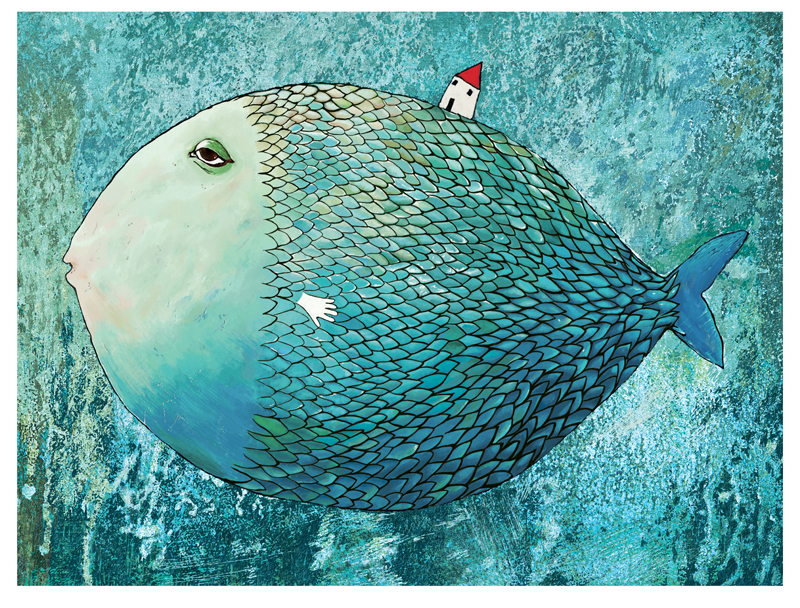 Canvas paintings seascape big blue fish and small house modern decoration art fine art free shipping