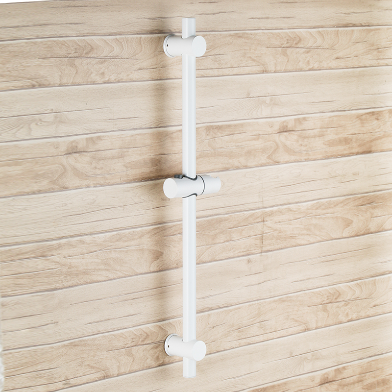 White Stainless Steel Slide Bars with All Brass Handheld Shower Bracket Height and Angle Adjustable, Polished Steel-White Stainless Steel Slide Bars with All Brass Handheld Shower Bracket Height and Angle Adjustable, Polished Steel-