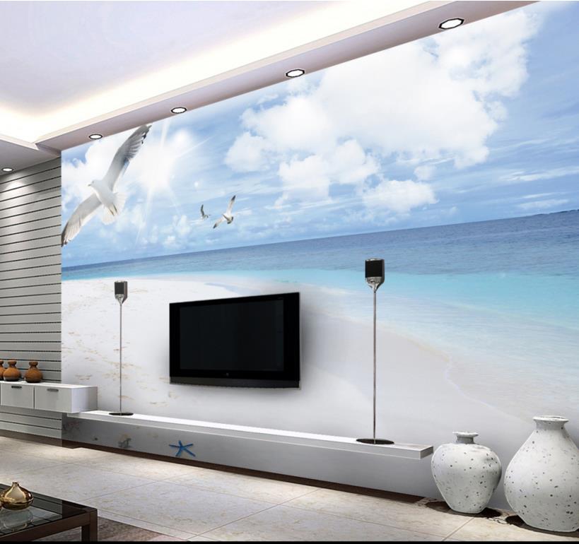 Modern Beach Wallpaper Murals 3d Blue Sky Wallpaper Walls 3d Wallpapers For  Wall Tv Backdrop Murals