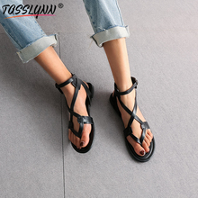 TASSLYNN 2019 Ankle Strap Flat Women Sandals Rome Style Beach Shoes Summer Soft PU Black Party Low Heels Women Shoes Big Size 12 ankle strap pu flat sandals