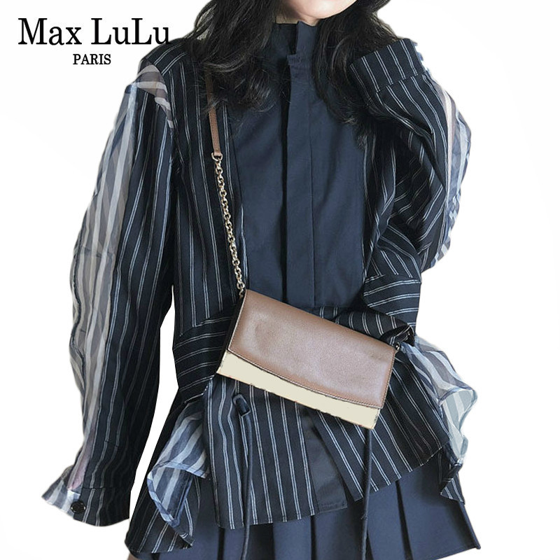 Max LuLu Autumn 2019 Fashion Korean Clothes Ladies Striped Shirts Womens Sexy Lace Tops And Blouses
