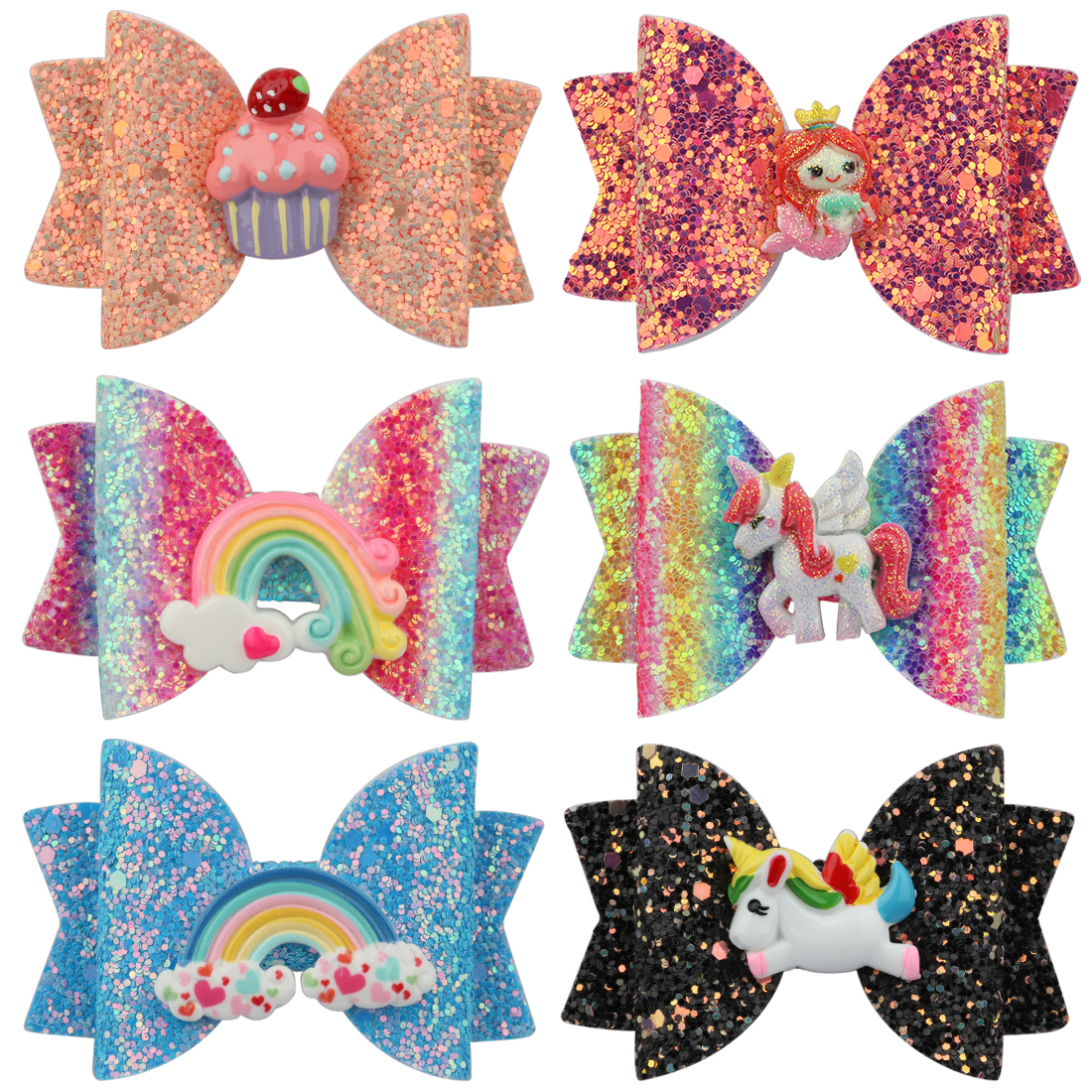1 PC Girls Barrettes Unicorn Hairpins Glitter Hair Bow Clips 3 Inch Rainbow Hairbow Kids Shiny Hairgrips Children Sweet Headwear