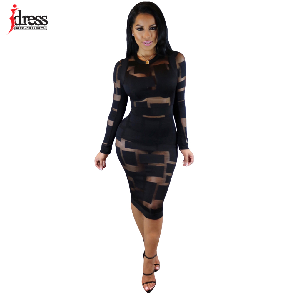 48a649b2dd2a IDress Autumn Winter Women Black White Blue Sexy Club Bodycon Dress Sheer  Mesh Patchwork Vintage Long Sleeve Bandage Party Dress-in Dresses from  Women s ...