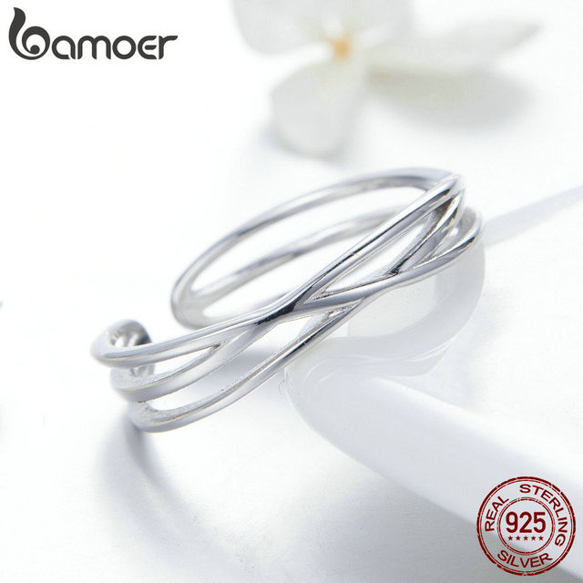 BAMOER Authentic 925 Sterling Silver Geometric Twisted Wave Open Size Finger Rings Women Wedding Engagement Jewelry SCR483 4
