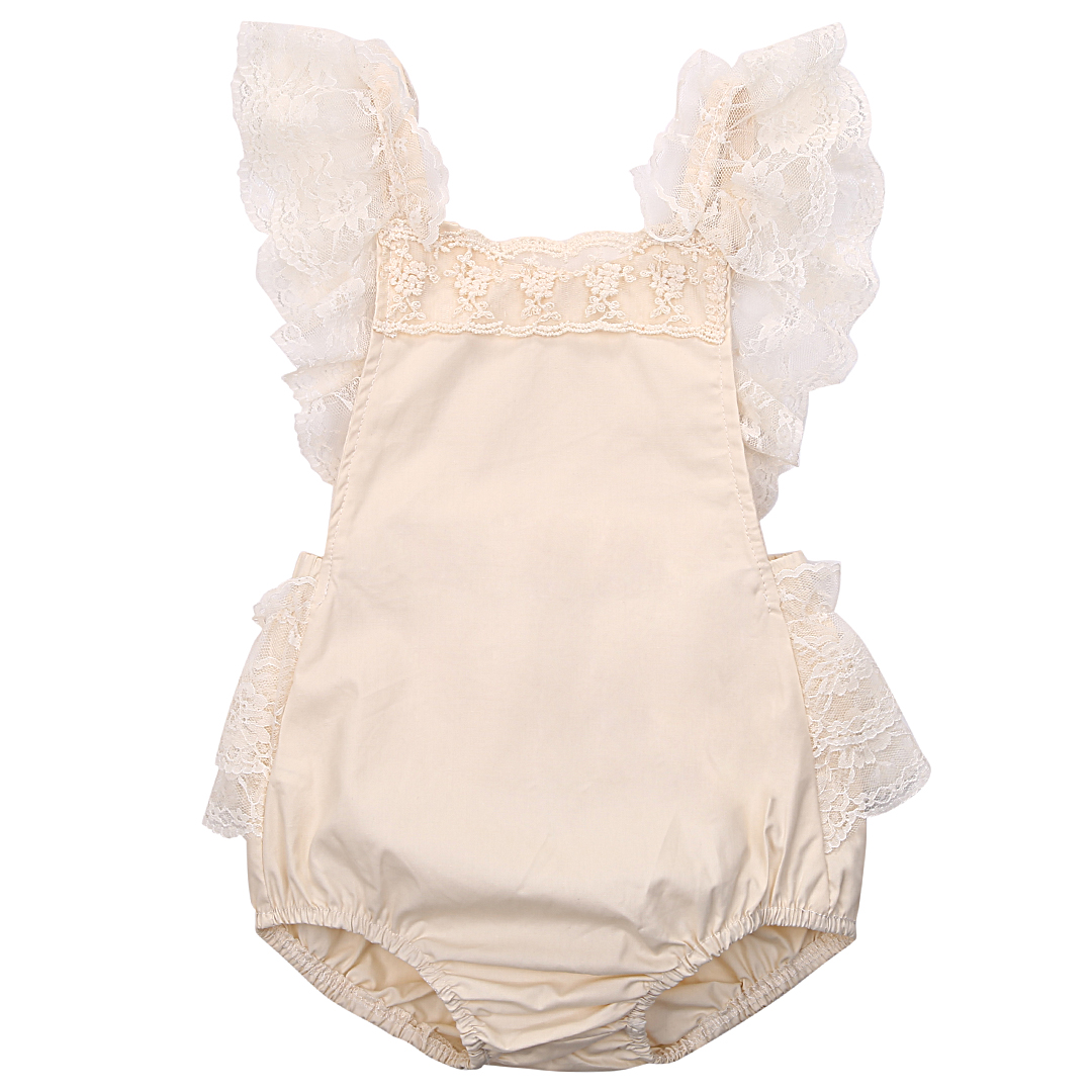 Newborn Baby Girls Romper Floral Lace Ruffle Sleeveless Romper Backless Jumpsuit Sunsuit Summer Baby Girl Clothes Outfit newborn infant baby clothes girls love floral strap romper jumpsuit outfit sunsuit summer cotton baby onesie girls clothing