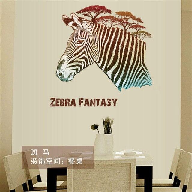 creatieve leuke zebra australi muurstickers entree slaapkamer woonkamer decoratieve muren decals art glas decal poster adesivo