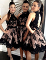 Vintage Halter Short Black Homecoming Dress Keyhole Back Lace Homecoming Dresses Graduation Dress Elegant Party Gowns HC14