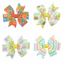 DUWES 3.1'' Easter eggs chevron Girls Hair Bow With Clip Boutique Printed Ribbon headwear diy wholesale 20 piece(China)