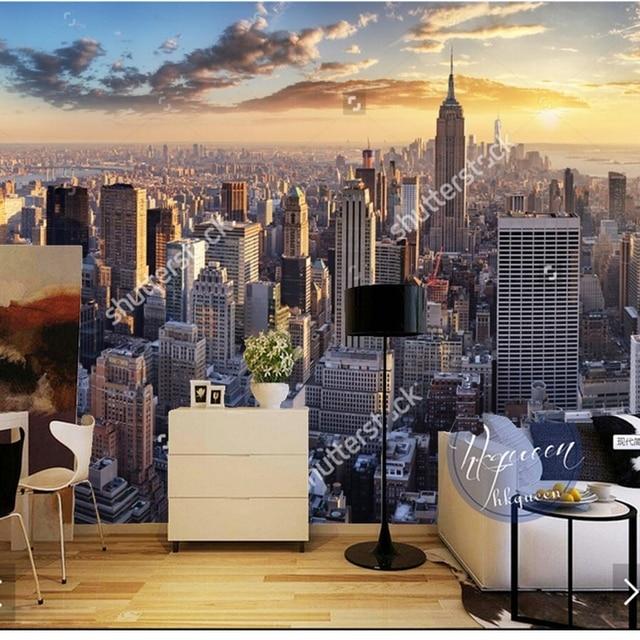 Custom landscape wallpaper,New York City,3D photo mural for living ...