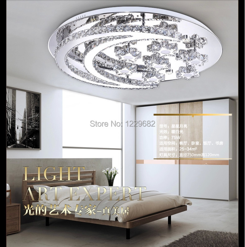 2014 New MOON AND STAR MODERN design creative decorative lustre crystal ceiling light for children bed room decoration
