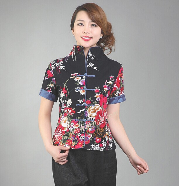 Новое поступление черные Винтаж китайский Для женщин хлопковая рубашка с v-образным вырезом Топ Рубашка с короткими рукавами цветок Размеры S M L XL XXL XXXL Mny-003B