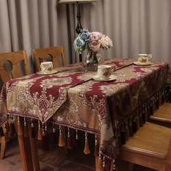 CURCYA Wine Red Europe Classic Elegant Table Cloths Home Dinning Table Decoration / Custom Vintage Tablecloths for Wedding Party