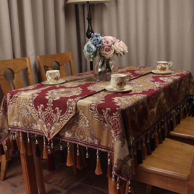 CURCYA Wine Red Europe Classic Elegant Table Cloths Home Dinning Table  Decoration / Custom Vintage Tablecloths