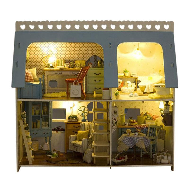 Миниатюрный Кукольный дом сделай сам дом романтические сцены дом Rocky с мебелью деревянный дом игрушки ручной работы подарок X009 # E
