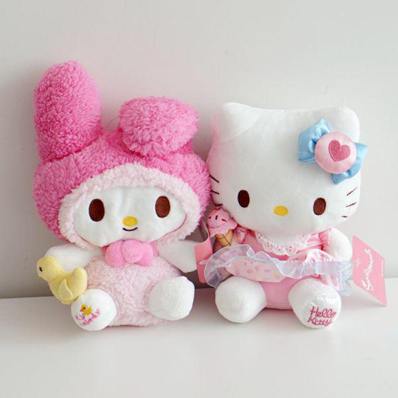 цена на Cute Cartoon My Melody Grips Yellow Duck Hello Kitty Apron Plush Toy Cats Soft Stuffed Animal Dolls For Kids Children Girls Gift