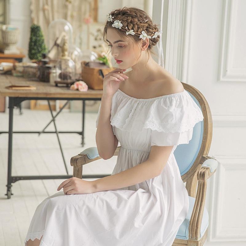 Women Vintage White Pure Cotton Princess Nightgown Ladies Royal Casual Sleepwear Lace Bride Night wear Peignoir Wedding 119