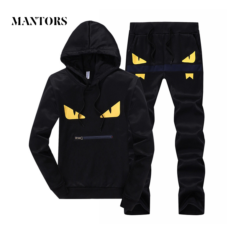 1702f4fa Men Casual Set Sportswear 2018 Autumn Hooded Sweatshirts Sporting Suits  Male Solid Tracksuit Pattern Printed Hoodies