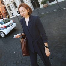 Set female 2018 spring new style fashion OL commuter was thin wild long-sleeved suit + wide leg trousers temperament two-piece