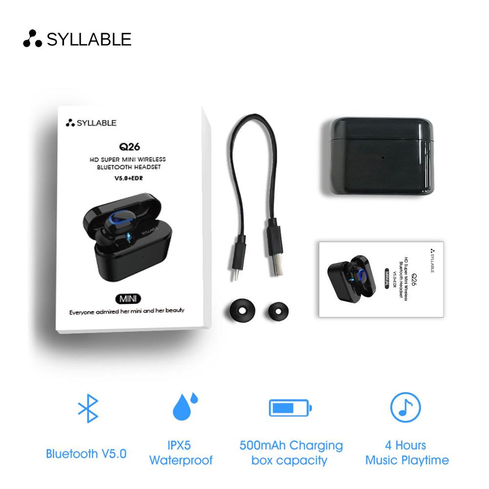 2019 New SYLLABLE Q26 headset 50mAh Bluetooth V5.0 Earphone Wireless Stereo Earbud 500mah Charger case battery capacity