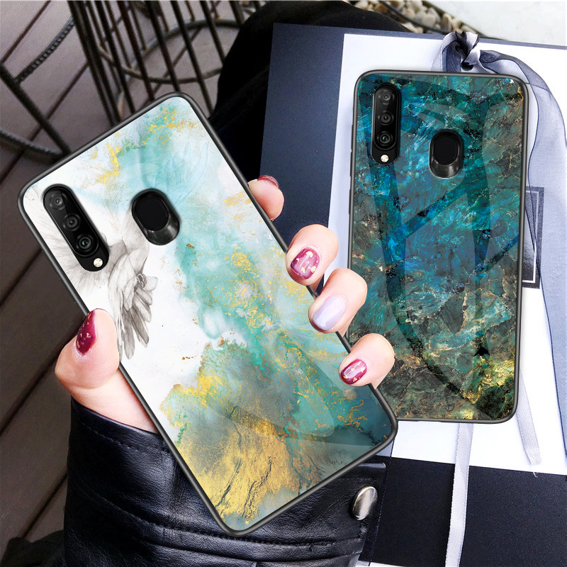 Image 2 - Marble Tempered Glass Phone Case For Samsung Galaxy A9 A8 A5 A6 Plus A7 2018 A6S A8S A30 A20 A10 A50 A70 A20E M10 M20 Cover Case-in Fitted Cases from Cellphones & Telecommunications