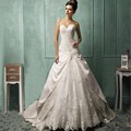 2017 New Design White Empire Court Train Wedding Gowns With Appliques Beading Lace Up Dress 2017 Wedding Party Dresses