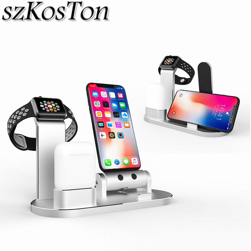 3 en 1 chargeur Dock titulaire Station support pour Apple Watch 4 3 2 1 38mm 42mm 40mm 44mm pour iPhone X 7 8 pour AirPods iPad Stand
