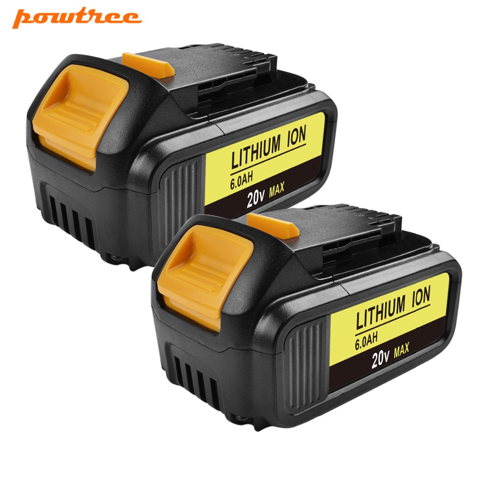 Powtree For DeWalt 20V 6000mAh DCB200 MAX Rechargeable Power Tools Battery Replacement DCB181 DCB182 DCB204 DCB101