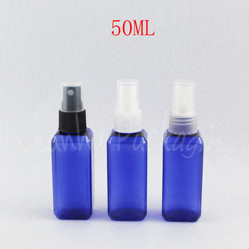 50ML Blue Square Plastic Bottle With Spray Pump , 50CC Makeup Sub-bottling , Cosmetic Water / Toner Travel Packaging Bottle
