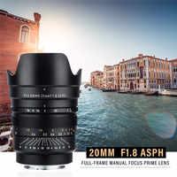 VILTROX 20mm f/1,8 ASPH Volle-Rahmen Weitwinkel-Prime Feste Fokus für Kamera Sony NEX E A9 A7M3 A7RIV A7III A7S A6500 Nikon Z6 Z7