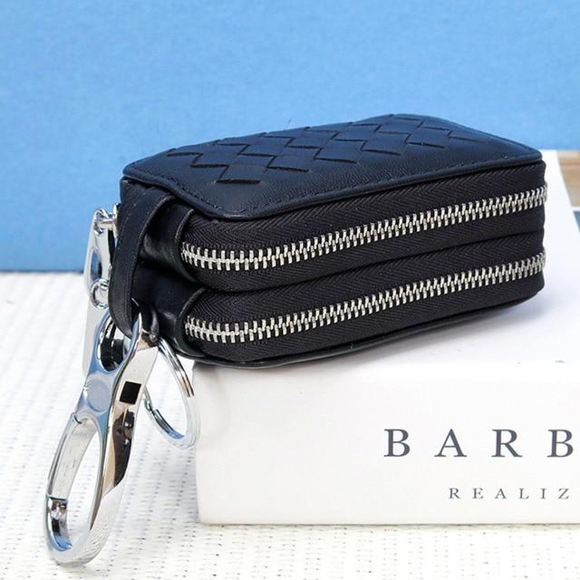 New Genuine Leather Car Key Double Zipper Wallet
