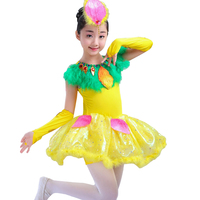 שמלת ריקוד ילדים עבור בנות בעלי החיים ציפורית חומוס סלסה שמלת תלבושות מחול מודרניות לילדים