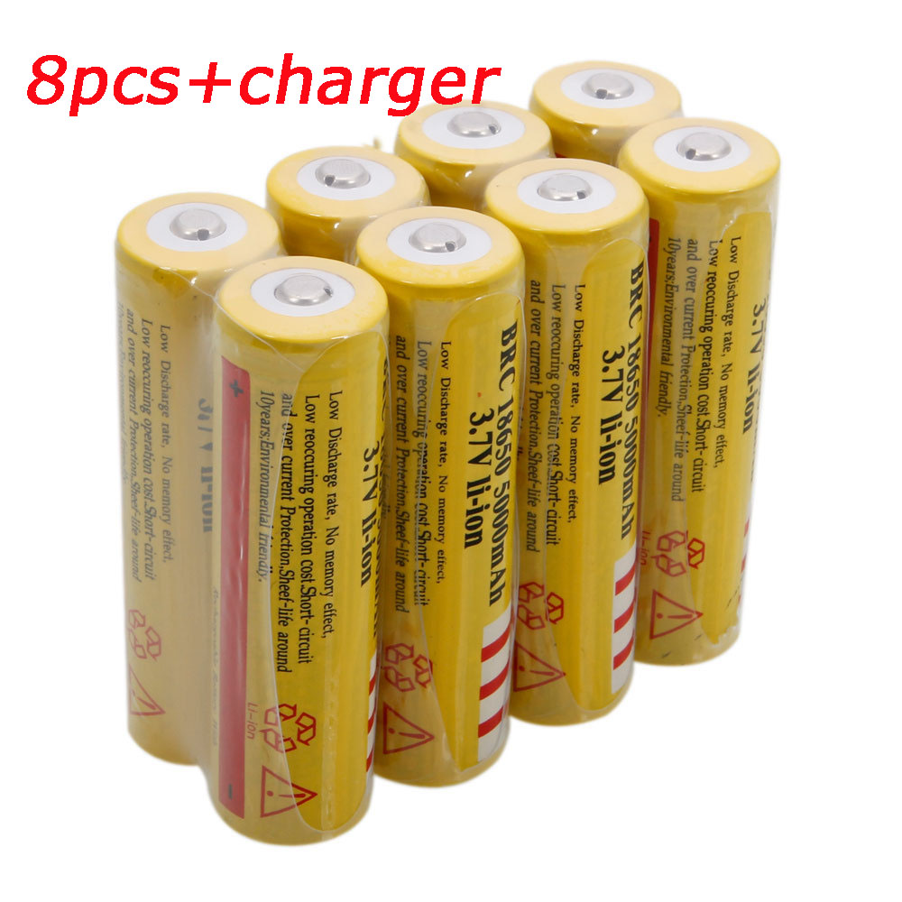 Hot Sale 8pcs 5000mAh 3.7V 18650 Li-ion Rechargeable Battery Yellow+Charger ultrafire 18650 high capacity 3 7v 5000mah li ion rechargeable battery with charger 2 pack yellow without protection board
