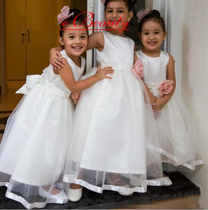 New White Flower Girls Dress with Bow O Neck First Communion Dress Girls Pageant Gown White Ivory Birthday Dress for Girls r7s led bulb 78mm 10w led corn bulb 118mm 20w ac 220v r7s 4014 smd silicone leds lamps replace halogen 60w 120w light