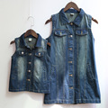 New family Look Winter Autumn matching long Lapel sleeveless washed denim jacket matching clothes mother daughter dresses