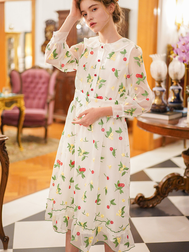 Spring Summer Women Vintage Elegant Slim White Long Dress Ladies Sweet Luxury Cherry Exquisite Embroidery Casual Formal Dress