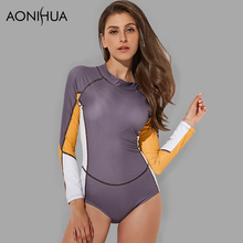 AONIHUA 2018 One Piece Surfing Swimsuits Women Rash Guards Patchwork Long sleeve female Bathing Suits Push up Swimwear 2162