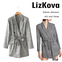 1fb0d9140a4 Fashion Plaid Blazer Playsuit Women England Houndstooth Playsuit with Bow  Belt Office Lady Short Pants Work Jumpsuit