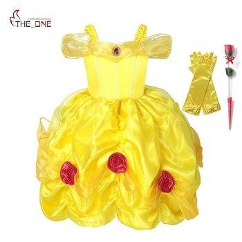 MUABABY disfraz de princesa bella para niñas de la capa del hombro de La Bella y La Bestia