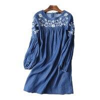 Ethnic Embroidery Denim Dresses Women Wrist Sleeve O Neck Casual Shirt Dress Spring 2017 Plus Size