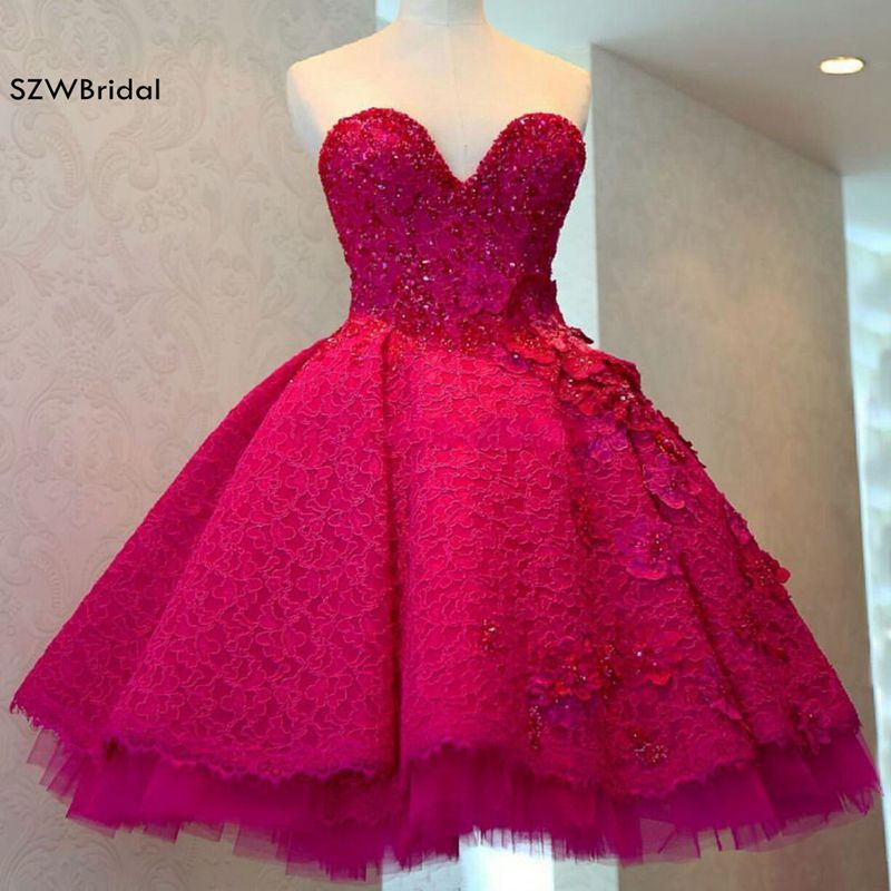 New Arrival Custom made Red Lace Beading A-Line Dark Red Short   Evening     dress   2019
