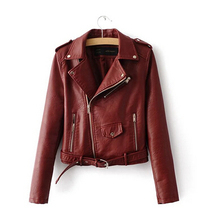 High quality jacket female motorcycle PU WOMEN leather jacket spring made red 2017 New spring fall short jacket hot coat