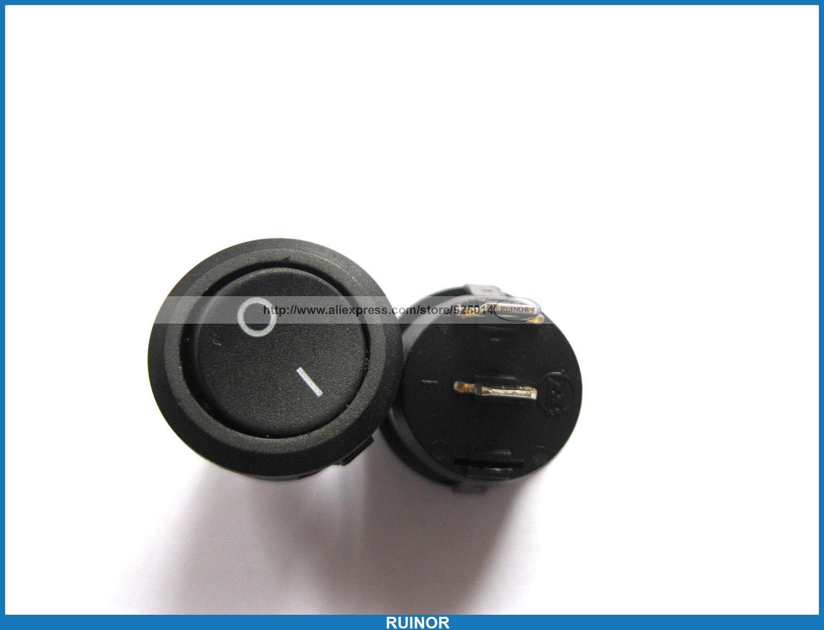 80 pièces Interrupteur À Bascule KCD1 Circulaire Noir 2pin 6A 10A