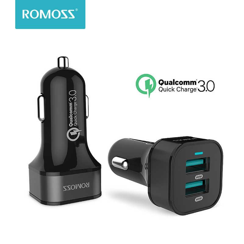 Romoss 36 Вт двойной USB быстрая зарядка QC 3,0 Автомобильное зарядное устройство для iPhone samsung мобильный телефон зарядник Быстрая зарядка планшет gps автомобильное зарядное устройство